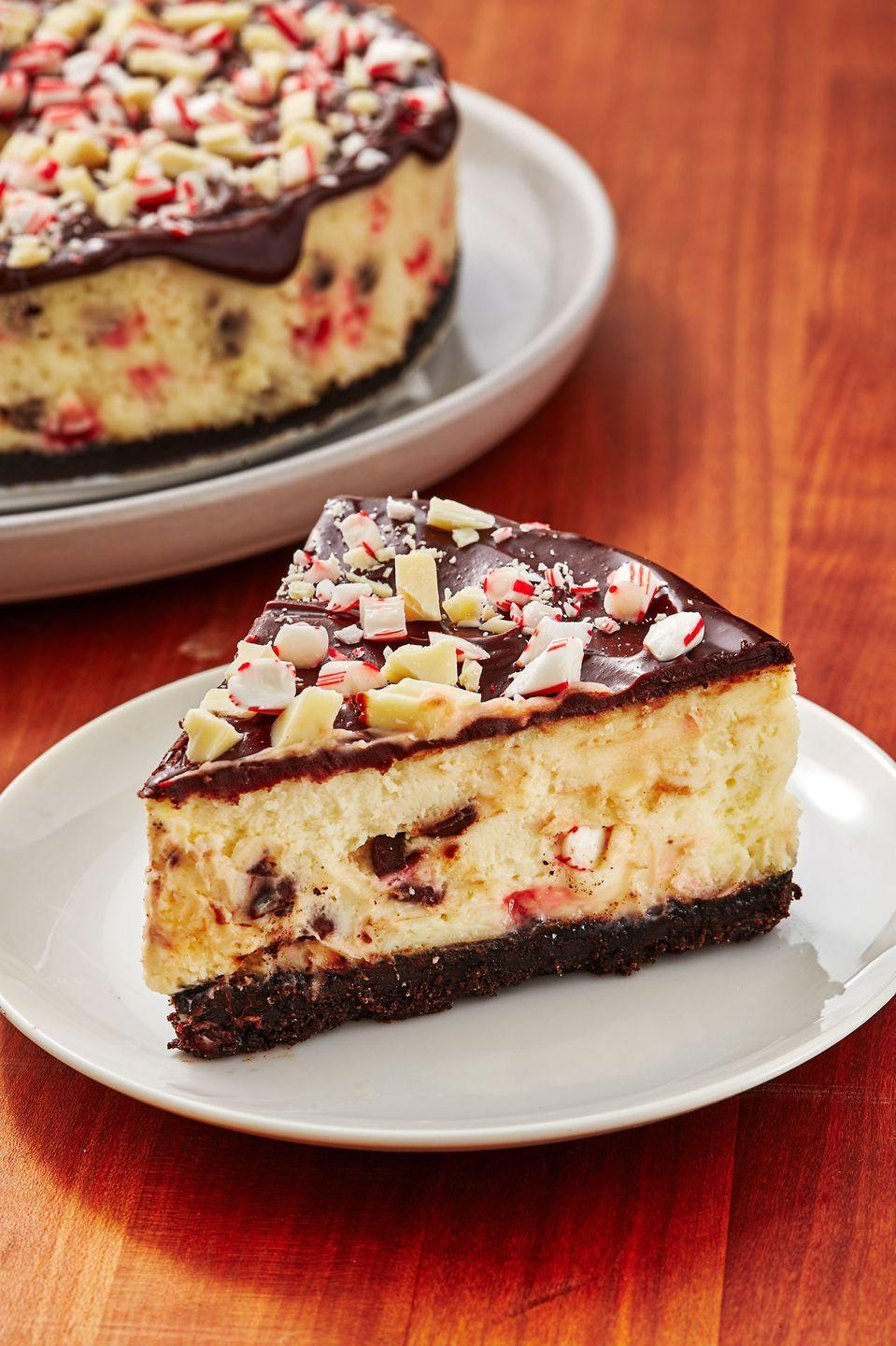 """<p>All we want for Christmas is cheesecake.</p><p>Get the recipe from <a href=""""https://www.delish.com/cooking/recipe-ideas/recipes/a50775/chocolate-peppermint-cheesecake-recipe/"""" rel=""""nofollow noopener"""" target=""""_blank"""" data-ylk=""""slk:Delish"""" class=""""link rapid-noclick-resp"""">Delish</a>. </p>"""