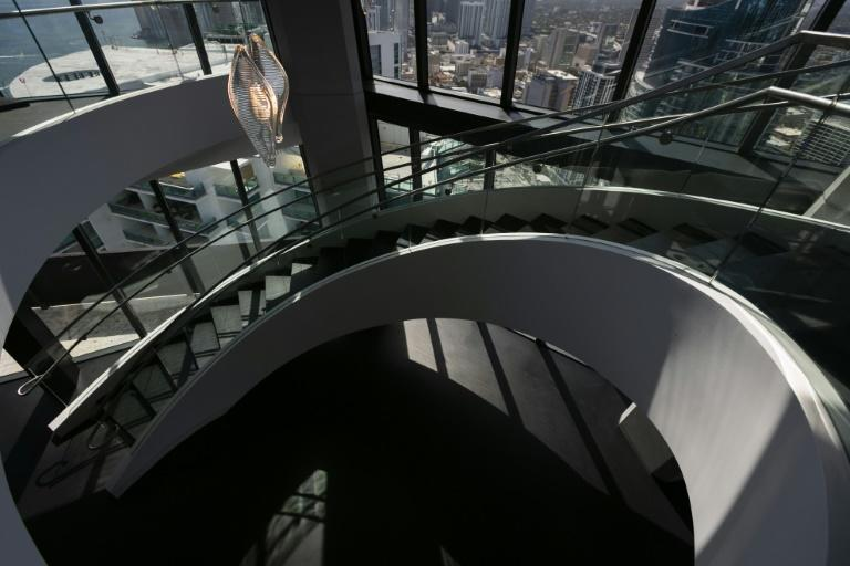 A view of the swirling staircase at One Thousand Museum (AFP Photo/Eva Marie UZCATEGUI)