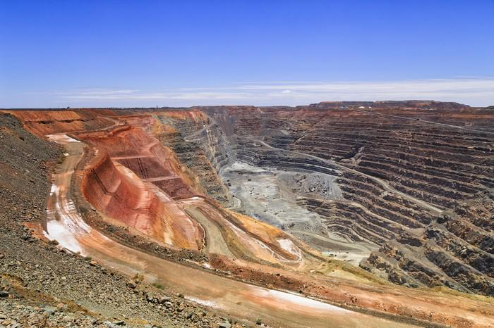 Open pit mine in an arid climate.