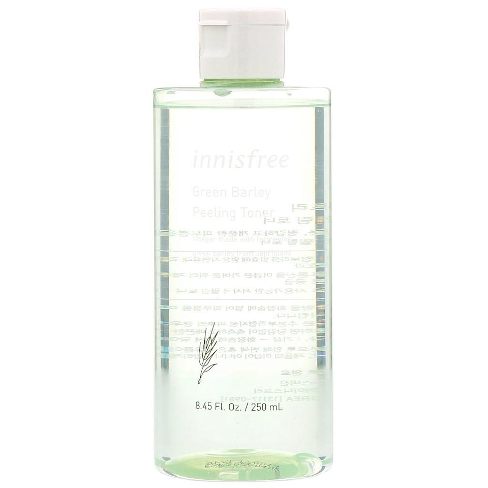 """<p>The fermented green barley vinegar and <a href=""""https://www.allure.com/story/what-is-hyaluronic-acid-skin-care?mbid=synd_yahoo_rss"""">hyaluronic acid</a> in this Innisfree toner combine to chemically exfoliate dead skin cells away while ensuring your skin still gets the moisture it needs. Green Barley Peeling toner is tough enough to rid skin of uneven spots and fine lines but gentle enough to use daily.</p> <p><strong>$16 for 8.5 ounces</strong> (<a href=""""https://www.amazon.com/innisfree-Green-Barley-Peeling-Toner/dp/B07QT7HZ36"""" rel=""""nofollow"""">Shop Now</a>)</p>"""