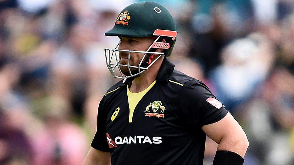 Aaron Finch scored just 12 in the second T20 against New Zealand, continuing a poor run of form. (Photo by Joe Allison/Getty Images)