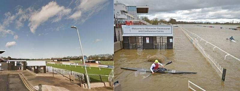 Worcester Racecourse as it normally appears (left), and the scene on February 23. (Photo: Google Images / PA Images Jacob King)