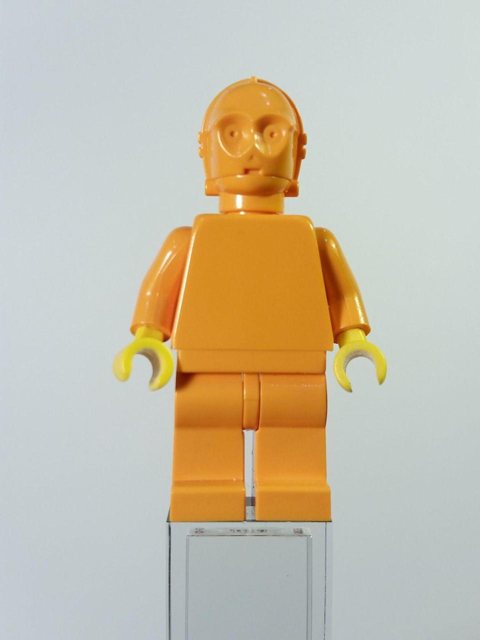 """<p>This cute little LEGO C3PO is the most expensive piece of plastic you (hopefully) own. He's suuuuuper rare due to the limited amount made and <a href=""""https://gunaxin.com/valuable-star-wars-toy-collectibles"""" rel=""""nofollow noopener"""" target=""""_blank"""" data-ylk=""""slk:reportedly"""" class=""""link rapid-noclick-resp"""">reportedly</a> worth $3,200.</p>"""