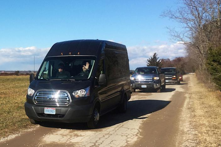 <p>DEC. 30, 2016 — A convoy of diplomatic vehicles leave a Russian owned compound, after President Barack Obama abruptly ordered the compound closed on Thursday, in Centreville, Maryland. (Joel Schectman/Reuters) </p>