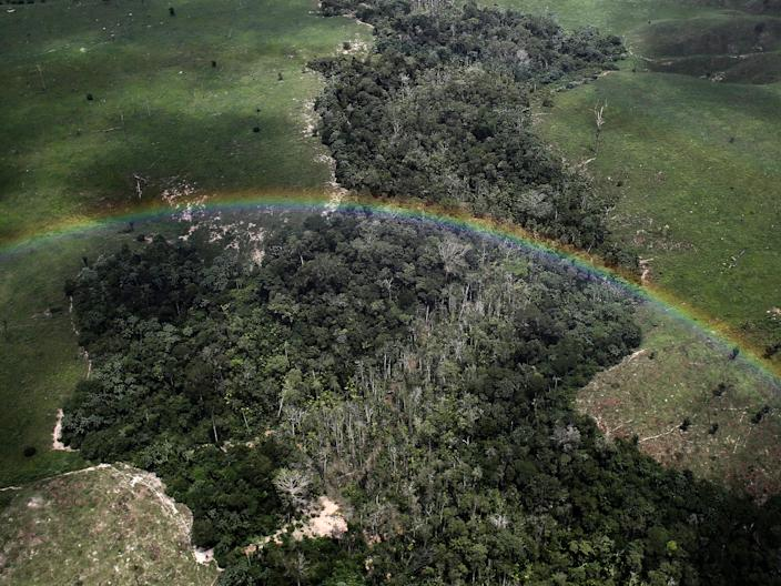 Amazon forest aerial rainbow Brazil