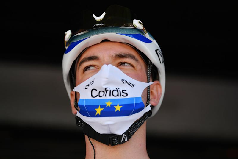 BEZIERS FRANCE AUGUST 01 Start Elia Viviani of Italy and Team Cofidis European Champion Jersey Covid Safe measures Team Presentation during the 44th La Route dOccitanie La Depeche du Midi 2020 Stage 1 a 187km stage from Saint Affrique to Cazouls ls Bziers RouteOccitanie RDO2020 on August 01 2020 in Beziers France Photo by Justin SetterfieldGetty Images