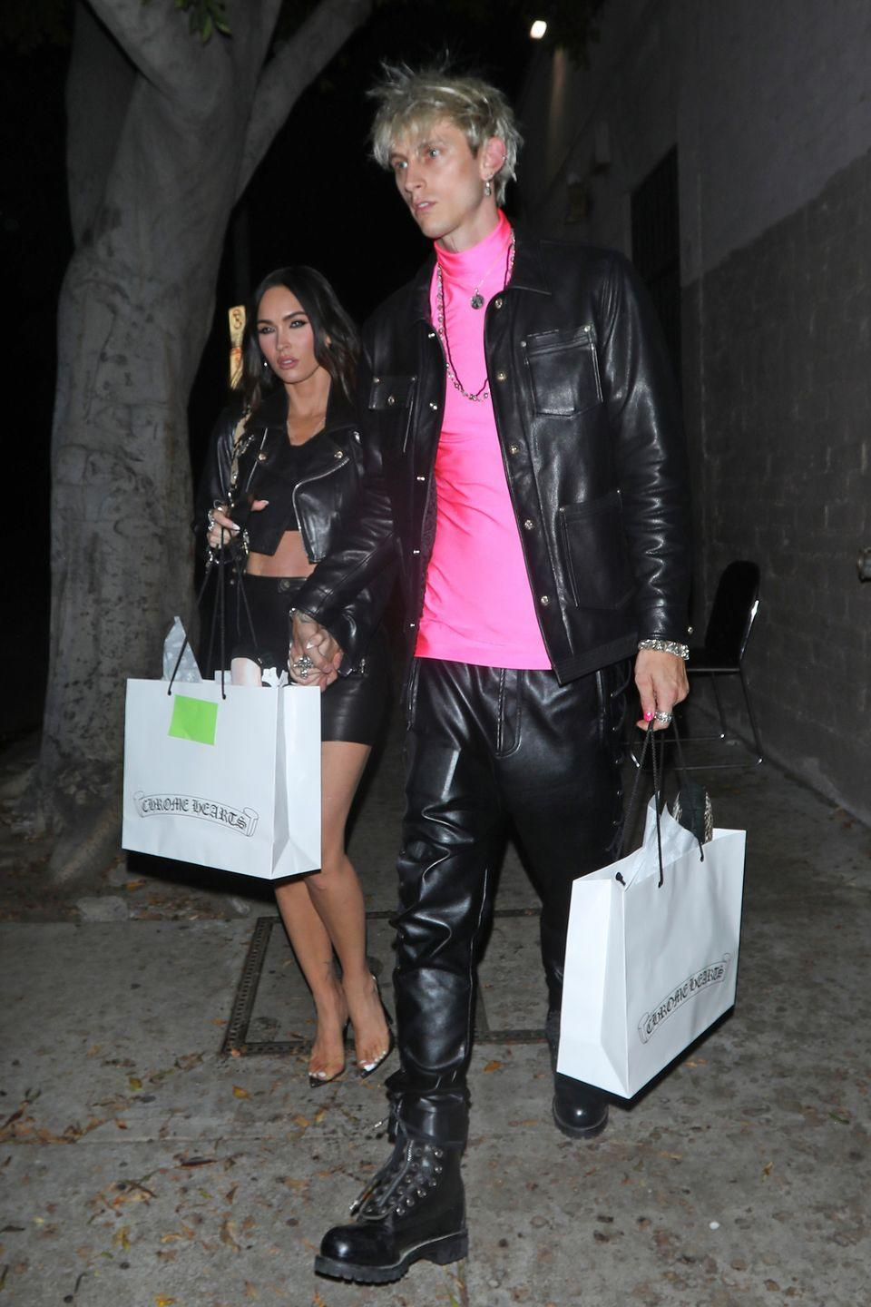 <p>Megan Fox was seen wearing a black leather skirt, heels and a black leather jacket while out with boyfriend Machine Gun Kelly. </p>