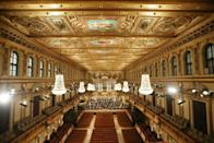 The Vienna Philharmonic Orchestra performing the traditional New Year's Concert without an audience