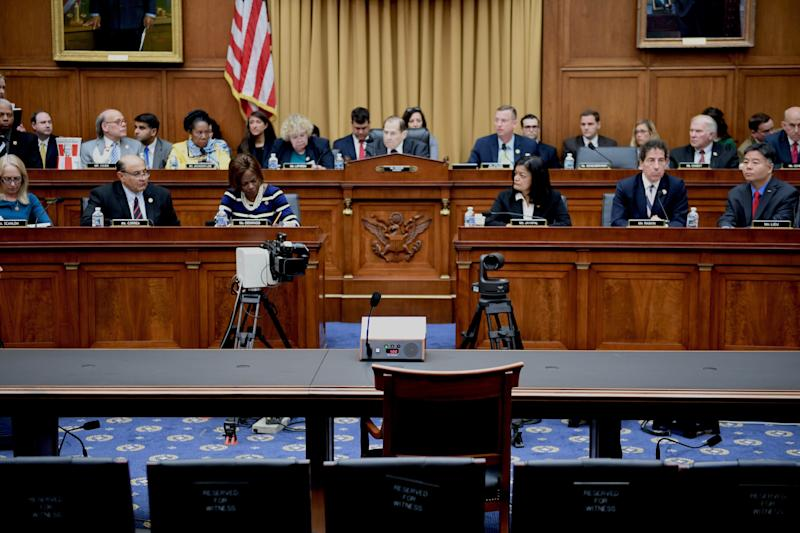 House Judiciary Committee Chairman Jerry Nadler speaks as Attorney General William Barr fails to attend a hearing on Capitol Hill in Washington, D.C., on Thursday. (Jim Watson/AFP/Getty Images)