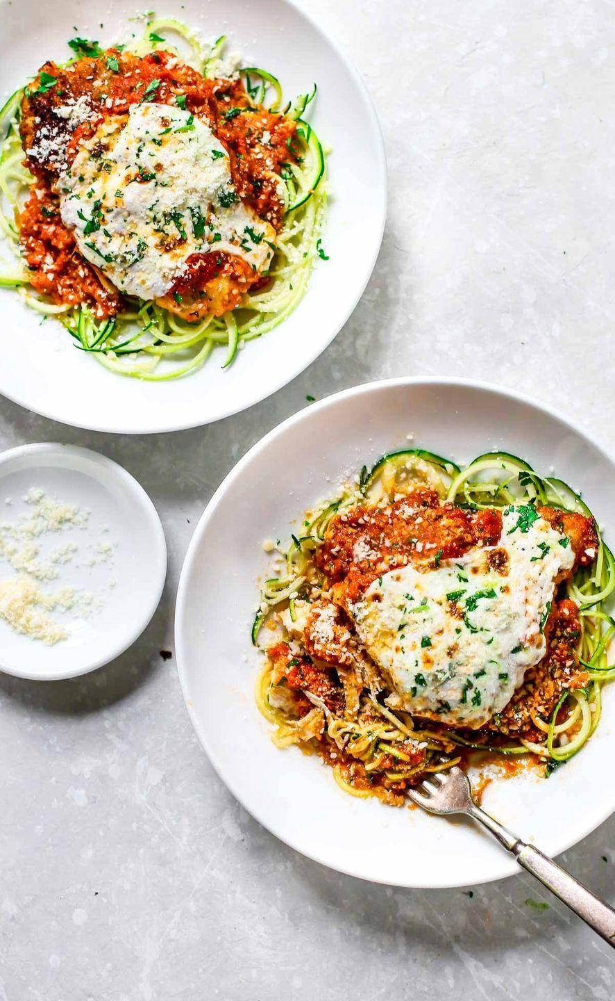 """<p>Here's some cheesy, saucy, crispy deliciousness you can feel good about. </p><p><a href=""""http://pinchofyum.com/20-minute-healthy-chicken-parmesan"""" rel=""""nofollow noopener"""" target=""""_blank"""" data-ylk=""""slk:Get the recipe from Pinch of Yum »"""" class=""""link rapid-noclick-resp""""><em>Get the recipe from Pinch of Yum »</em></a></p>"""