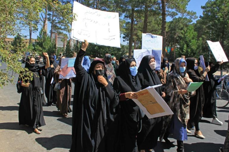 Around around 50 women took part in a rare protest in Herat -- unthinkable under the previous Taliban rule (AFP/-)