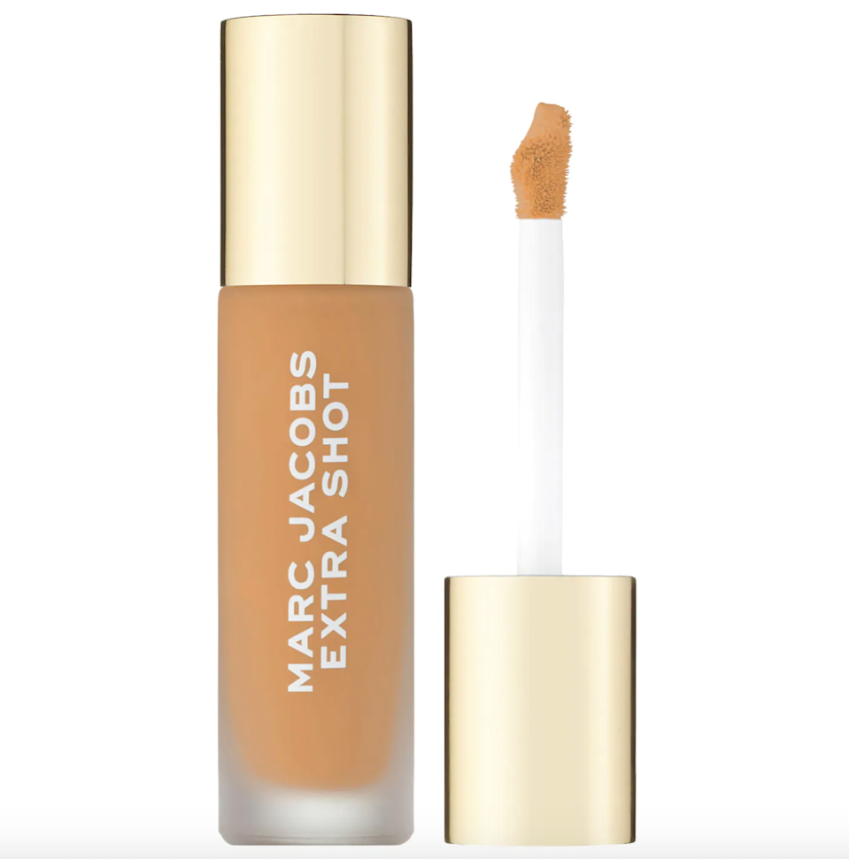 """<br><br><strong>Marc Jacobs Beauty</strong> Extra Shot Caffeine Concealer and Foundation, $, available at <a href=""""https://go.skimresources.com/?id=30283X879131&url=https%3A%2F%2Ffave.co%2F3yJI0Q0"""" rel=""""nofollow noopener"""" target=""""_blank"""" data-ylk=""""slk:Sephora"""" class=""""link rapid-noclick-resp"""">Sephora</a>"""