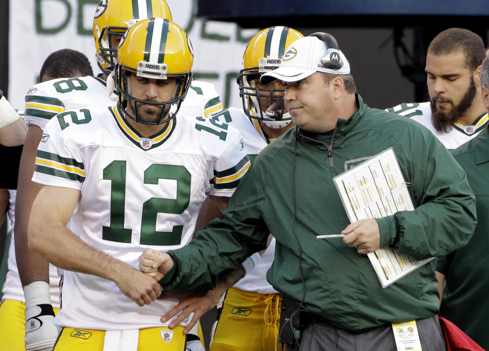 Aaron Rodgers said he's communicated with Mike McCarthy and shared a theory on why he got hired in Dallas. (AP Photo/Amy Sancetta, File)