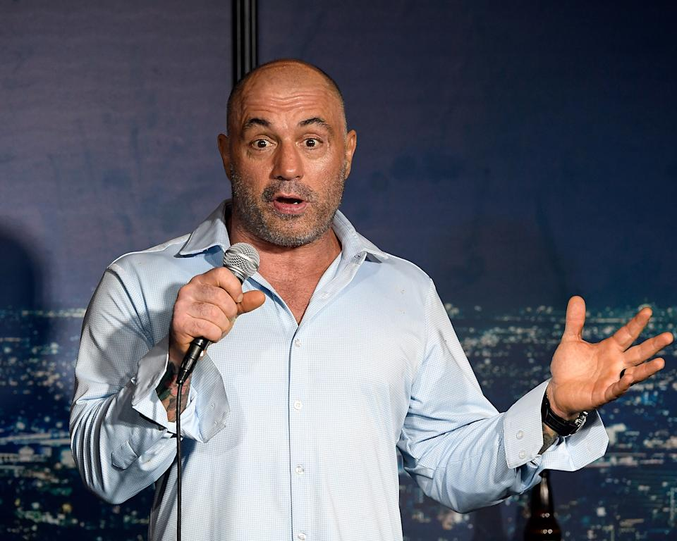 Comedian Joe Rogan performs during a 2019 appearance at the Ice House Comedy Club in Pasadena, Calif.  (Michael S. Schwartz/Getty Images)