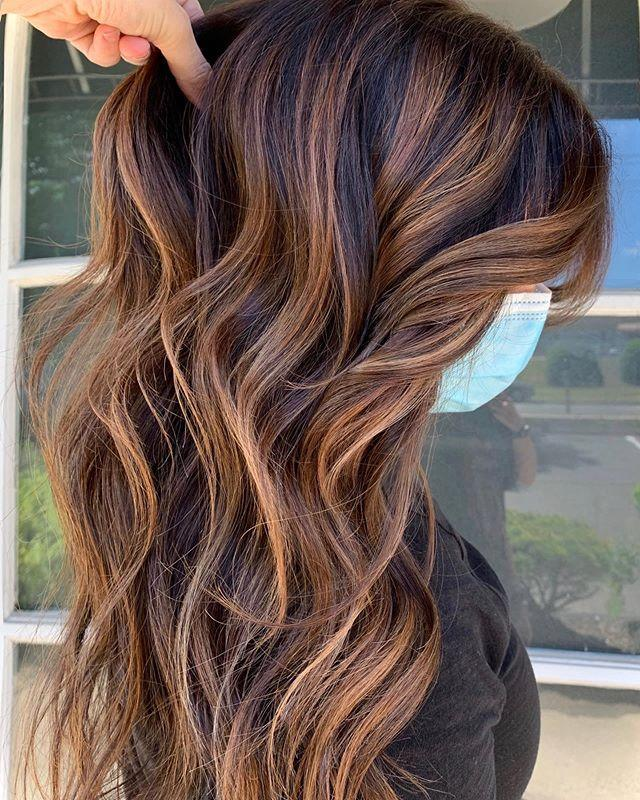 """<p>Not everyone is ready to commit to a full head of red for fall, and that's okay. If you're starting with a brunette base, tap into the balayage trend with hand-painted lowlights of caramel and auburn. </p><p><a href=""""https://www.instagram.com/p/CBb1o7Dpb7S/?utm_source=ig_embed&utm_campaign=loading"""" rel=""""nofollow noopener"""" target=""""_blank"""" data-ylk=""""slk:See the original post on Instagram"""" class=""""link rapid-noclick-resp"""">See the original post on Instagram</a></p>"""