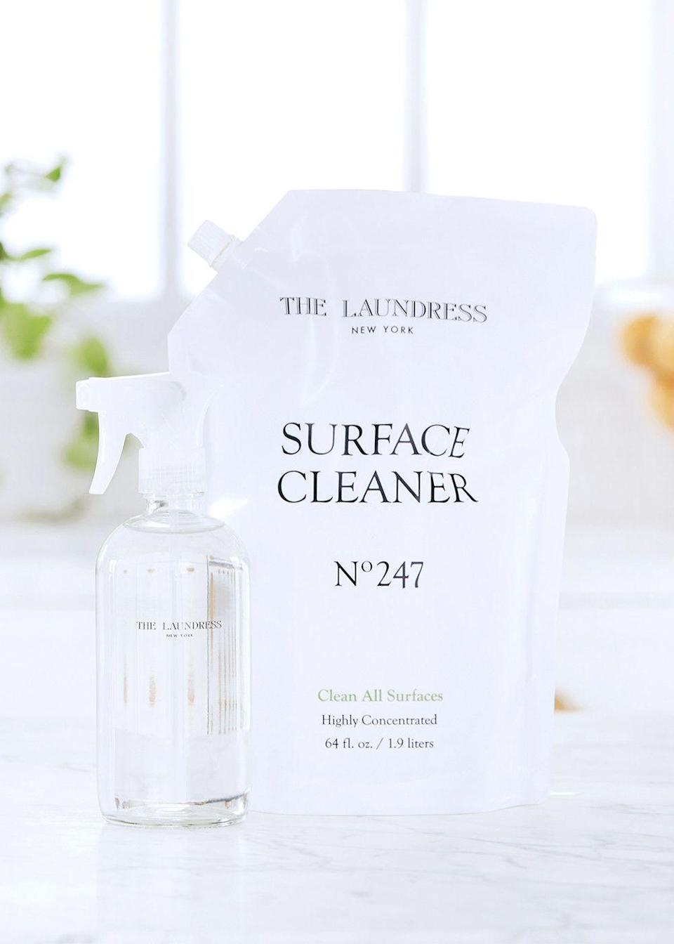 """<p><strong>The Laundress</strong></p><p>thelaundress.com</p><p><strong>$54.00</strong></p><p><a href=""""https://go.redirectingat.com?id=74968X1596630&url=https%3A%2F%2Fwww.thelaundress.com%2Fsurface-cleaner-refill-bundle.html%3FranMID%3D45148%26ranEAID%3D2116208%26ranSiteID%3DTnL5HPStwNw-wWluywJb2n3.QklkBuR.Xg&sref=https%3A%2F%2Fwww.townandcountrymag.com%2Fstyle%2Fg36132033%2Fthe-weekly-covet-april-16-2021%2F"""" rel=""""nofollow noopener"""" target=""""_blank"""" data-ylk=""""slk:Shop Now"""" class=""""link rapid-noclick-resp"""">Shop Now</a></p><p>""""I'm always looking for ways to reduce my consumption of products that have single-use plastic components. An area where I previously struggled, of course, was cleaning products. Now my favorite home cleaning products come in bags with environmentally-friendlier impact so I can refill my glass cleaning bottles and reduce the amount of plastic I toss into the recycling every month.""""—<em>Roxanne Adamiyatt, Senior Digital Editor </em></p>"""