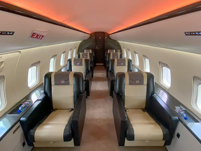 A VIP-configured Bombardier CRJ200 private jet.