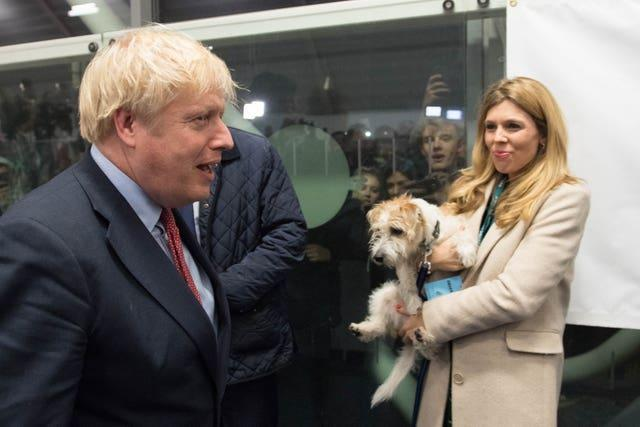 Boris Johnson with Carrie Symonds and Dilyn the dog