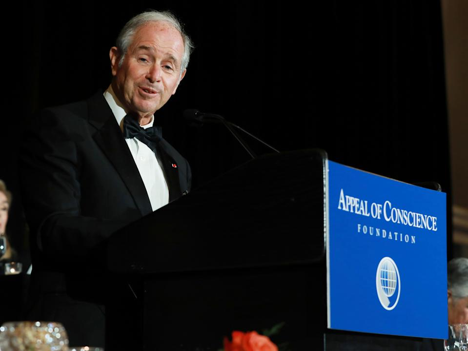 IMAGE DISTRIBUTED FOR APPEAL OF CONSCIENCE FOUNDATION - Stephen A. Schwarzman, the Chairman and CEO of The Blackstone Group, introduces United States Treasury Secretary Steven T. Mnuchin during the 2018 Appeal of Conscience Gala at the Grand Hyatt New York on Wednesday, Sept. 26, 2018, in New York. (Mark Von Holden/AP Images for Appeal of Conscience Foundation)