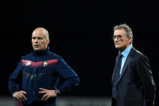 France's assistant coach Yannick Bru (L) and France's head coach Guy Noves look on ahead of the friendly rugby union international Test match between France and Japan at The U Arena in Nanterre on the outskirts of Paris on November 25, 2017. (AFP Photo/FRANCK FIFE)