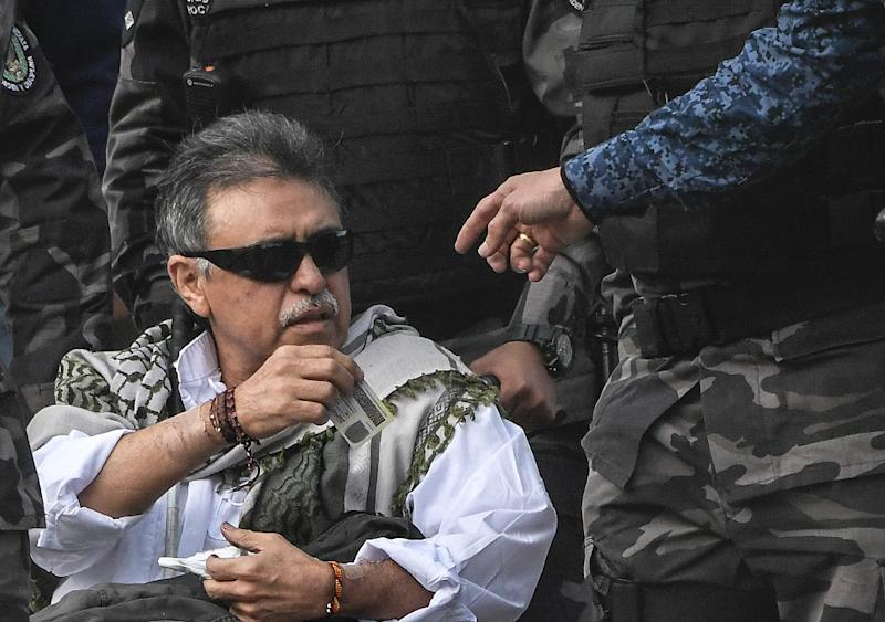 Jesus Santrich is suspected of participating in the trafficking of 10 tons of cocaine to the US between June 2017 and April 2018 (AFP Photo/Juan BARRETO)