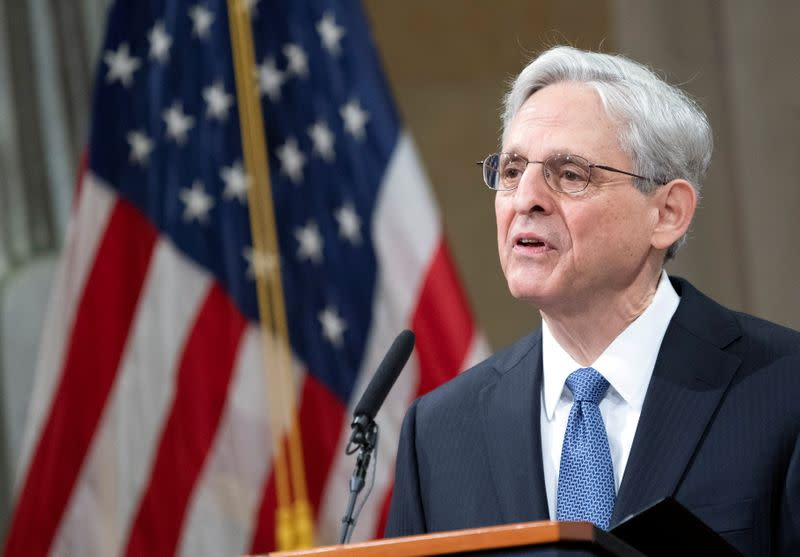 FILE PHOTO: Merrick Garland's first day as U.S. Attorney General