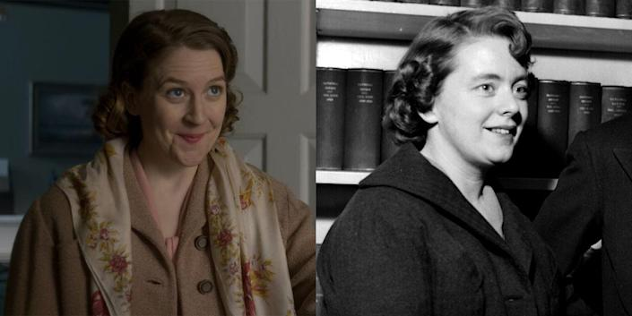 <p>Gemma Whelan, the actress who played Yara Greyjoy in Game of Thrones, took on a completely different role as Patricia Campbell on season 2 of<em> The Crown</em>. On the show, Campbell only exists as her editor Lord Altrincham's typist and secretary (and dentist-appointment companion), but in real life, the two actually fell in love, got married, and adopted two children together. </p>