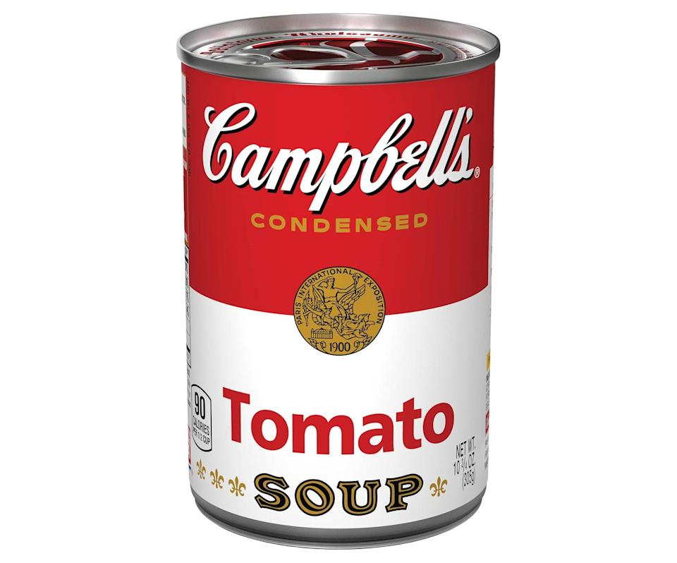 "<p>""The only soup I ever have a can or two of in my pantry at all times is <span>Campbell's Condensed Tomato Soup</span> ($1). Mixed with a little milk or even water, it always hits the spot when you think you have nothing good to make - especially with a <a href=""https://www.popsugar.com/food/Grilled-Cheese-Roll-Ups-Recipe-38887725"" class=""link rapid-noclick-resp"" rel=""nofollow noopener"" target=""_blank"" data-ylk=""slk:grilled cheese"">grilled cheese</a>."" - Joanna Douglas, senior editorial director, Native </p>"