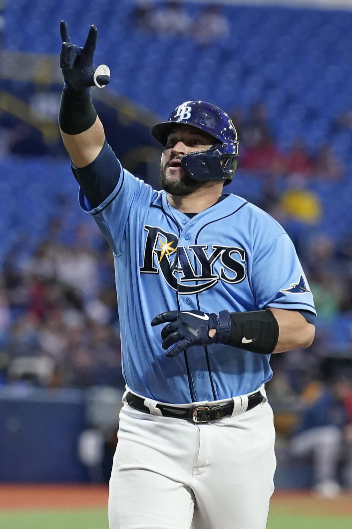 Tampa Bay Rays' Mike Zunino reacts after his solo homerun off Boston Red Sox starting pitcher Martin Perez during the fourth inning of a baseball game Friday, July 30, 2021, in St. Petersburg, Fla. (AP Photo/Chris O'Meara)
