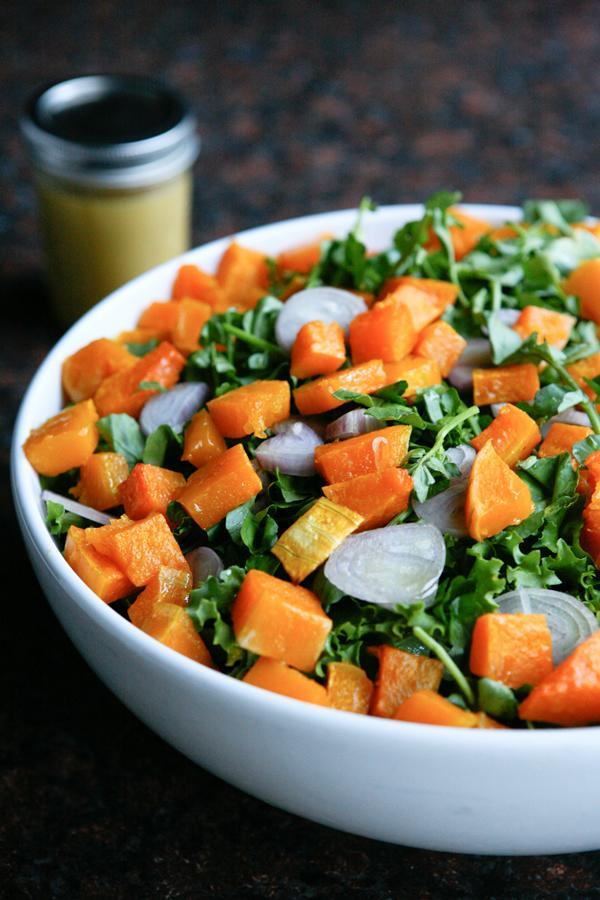 """<div class=""""caption-credit""""> Photo by: Angie McGowan</div><b>Butternut Squash Salad with Escarole</b> <br> <b><i>Ingredients:</i></b> <br> 1/2 medium butternut squash, peeled and diced, Olive oil, Kosher salt, 1 head of curly escarole, chopped <br> 1 small bunch watercress, 1 medium shallot, very thinly sliced, 1/2 cup dried cranberries, 1/4 cup nuts (walnuts, pine nuts, pecans) <br> <b><i>Dressing:</i></b> <br> 3 tablespoons apple cider vinegar, 3 tablespoons olive oil, 1 tablespoon Dijon mustard, 1 tablespoon molasses <br> <b><i>Directions:</i></b> <br> 1. Preheat oven to 400 degrees. Combine diced butternut squash with olive oil and a little kosher salt. Spread in a single layer on a baking sheet and roast until tender, about 20 - 30 minutes, depending on the size of your squash chunks. <br> 2. Combine ingredients for dressing in a jar and shake well. <br> 3. Add escarole, watercress and shallot to salad bowl. Top with butternut squash and cranberries or nuts if using. Top with salad dressing."""