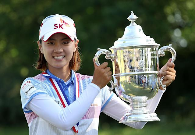 KOHLER, WI - JULY 08: Na Yeon Choi of South Korea poses with the championship trophy after her four-stroke victory at the 2012 U.S. Women's Open on July 8, 2012 at Blackwolf Run in Kohler, Wisconsin. (Photo by Scott Halleran/Getty Images)