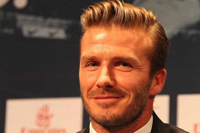 PARIS, FRANCE - JANUARY 31: International soccer player David Beckham attends the press conference for his PSG signing at Parc des Princes on January 31, 2013 in Paris, France. (Photo by Marc Piasecki/Getty Images)
