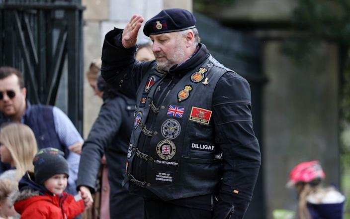Members of the Household Division Veteran Riders' Club arrived on motorcycles to pay their respects to the Duke