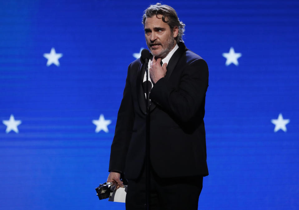 "25th Critics Choice Awards - Show - Santa Monica, California, U.S., January 12, 2020 - Joaquin Phoenix accepts the Best Actor award for his role in ""Joker."" REUTERS/Mario Anzuoni"