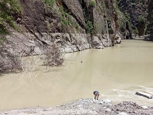 Visual of Rishiganga lake being inspected by an official.(Photo/ANI)