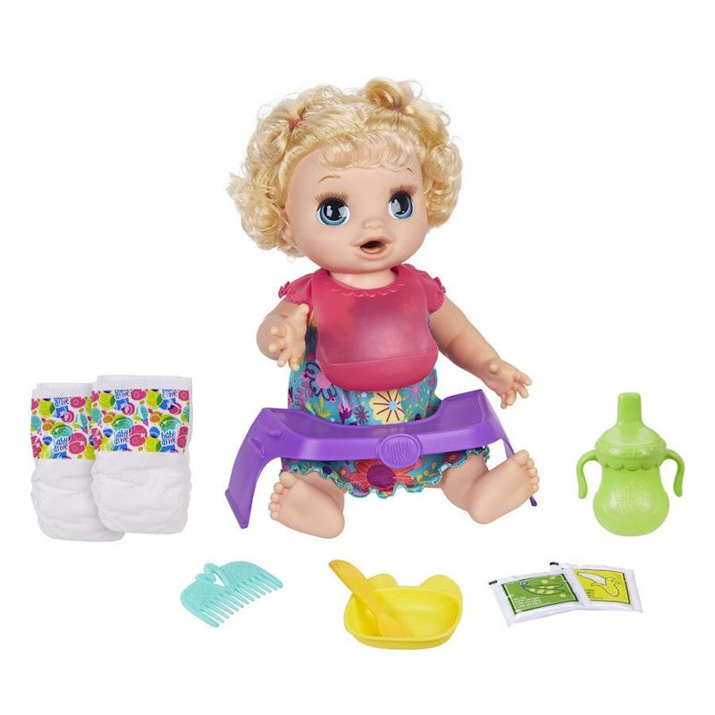 "Baby Alive Happy Hungry Baby loves to eat!&nbsp;<strong>Ages:</strong> 3+&nbsp;<strong>Get it at:</strong> <a href=""https://www.walmart.ca/en/ip/baby-alive-happy-hungry-baby-blond-curly-hair-doll-makes-50-sounds-and-phrases-eats-and-poops-drinks-and-wets-for-kids-age-3-and-up/6000199859765"" target=""_blank"" rel=""noopener noreferrer"">Walmart</a>, $69.97"