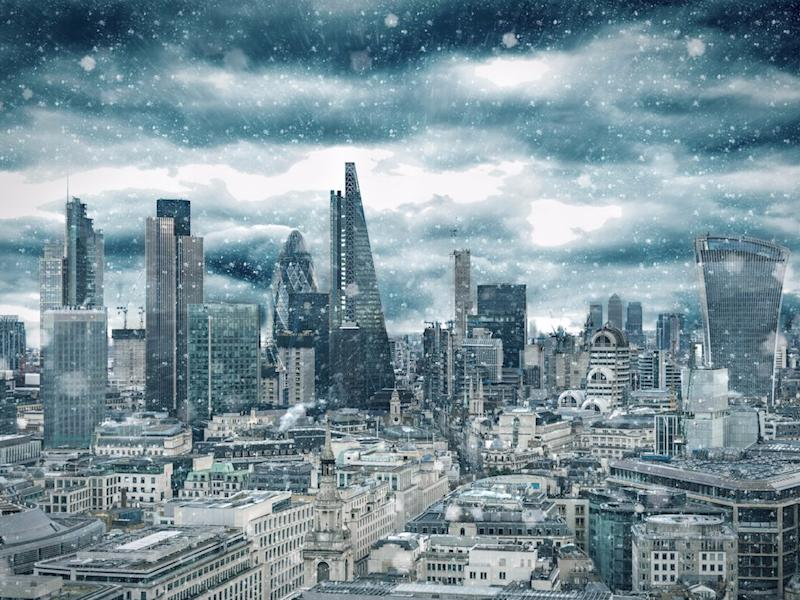 A snowstorm in Canary Wharf, London's financial district