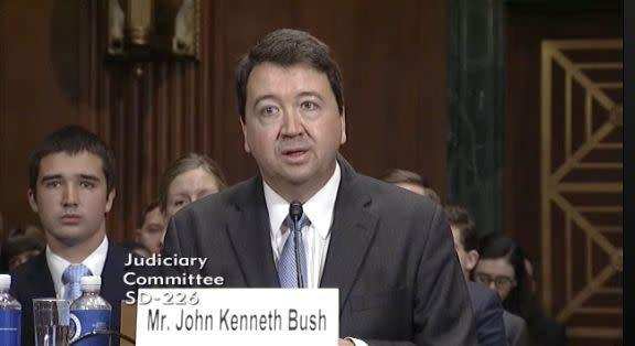 """Here's U.S. circuit court judge John Bushtestifyingin his Senate confirmation hearing in June. He thinks abortionis like slavery, and they are""""the two greatest tragedies in our country."""""""
