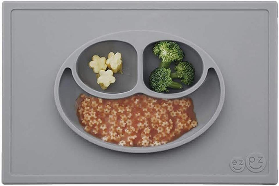 """Stick this to the table so you can stick to your quick lunchtime schedule. There's no time for thrown plates today, toddler!<br /><br /><strong>Promising review:</strong>""""I am completely satisfied with this purchase!<strong>The mat itself is heavier than others I have seen and it does not slide around. It is also dishwasher safe which makes my life easier.</strong>I like the fact that there is a built in bowl because that also means I'm not cleaning a bowl and plate. The suction prevents the mats from sliding, it does not prevent anyone from peeling it off the table. Yes, my two year old does this occasionally but it isn't the placemat's fault."""" —<a href=""""https://www.amazon.com/dp/B00PL1KV70?tag=huffpost-bfsyndication-20&ascsubtag=5871416%2C22%2C27%2Cd%2C0%2C0%2C0%2C962%3A1%3B901%3A2%3B900%3A2%3B974%3A3%3B975%3A2%3B982%3A2%2C16400365%2C0"""" target=""""_blank"""" rel=""""noopener noreferrer"""">Jenn H</a><br /><br /><strong>Get it from Amazon for<a href=""""https://www.amazon.com/dp/B00PL1KV70?tag=huffpost-bfsyndication-20&ascsubtag=5871416%2C22%2C27%2Cd%2C0%2C0%2C0%2C962%3A1%3B901%3A2%3B900%3A2%3B974%3A3%3B975%3A2%3B982%3A2%2C16400365%2C0"""" target=""""_blank"""" rel=""""noopener noreferrer"""">$24.99</a>.</strong>"""