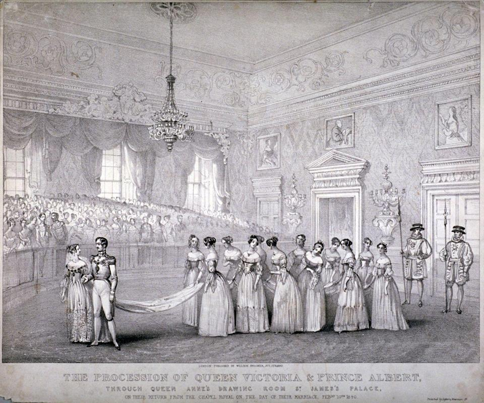 """<p>When Queen Victoria wore a white dress for her wedding to Prince Albert, she not only popularized the white wedding dress tradition that still exists today, but an all-white wedding party became customary. In fact, the Queen <a href=""""https://royalcentral.co.uk/features/queen-victorias-bridesmaids-126625/"""" rel=""""nofollow noopener"""" target=""""_blank"""" data-ylk=""""slk:designed all twelve bridesmaids dresses herself"""" class=""""link rapid-noclick-resp"""">designed all twelve bridesmaids dresses herself</a>, opting for simple white silk designs with tulle skirts and white roses.</p>"""