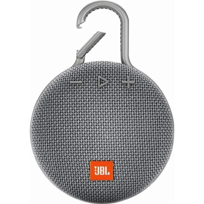 """<p><strong>JBL</strong></p><p>amazon.com</p><p><strong>$49.95</strong></p><p><a href=""""https://www.amazon.com/dp/B07Q4R6KR9?tag=syn-yahoo-20&ascsubtag=%5Bartid%7C10055.g.27116208%5Bsrc%7Cyahoo-us"""" rel=""""nofollow noopener"""" target=""""_blank"""" data-ylk=""""slk:Shop Now"""" class=""""link rapid-noclick-resp"""">Shop Now</a></p><p>On his next adventure, he can clip this bluetooth speaker to his backpack or belt buckle to jam out to his favorite tunes. It's also waterproof, so he doesn't have to worry about rain or snow. </p>"""