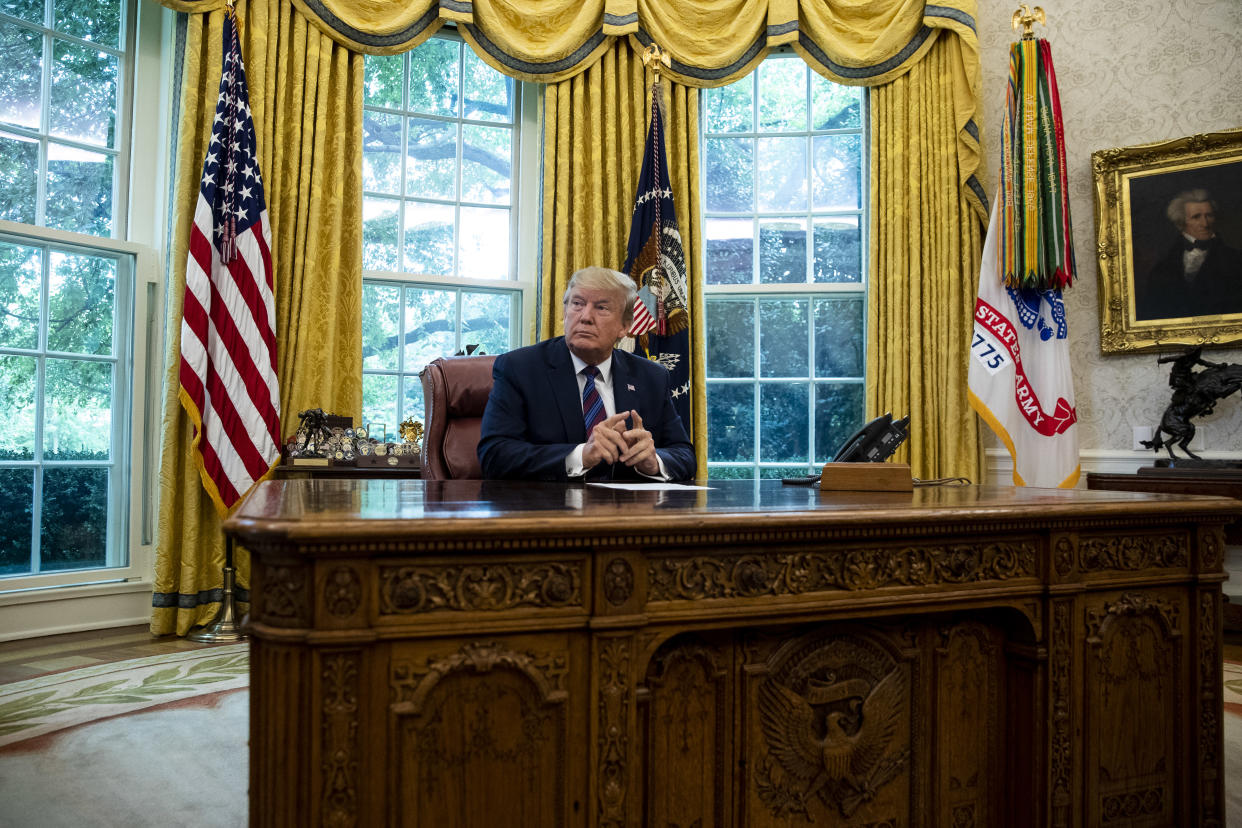 President Donald Trump in the Oval Office at the White House, in Washington, on, July 26, 2019. (Anna Moneymaker/The New York Times)