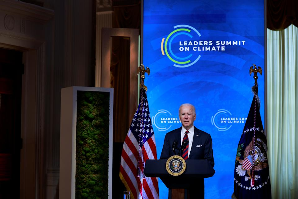 U.S. President Joe Biden participates in a virtual Climate Summit with world leaders in the East Room at the White House in Washington, U.S., April 22, 2021. REUTERS/Tom Brenner