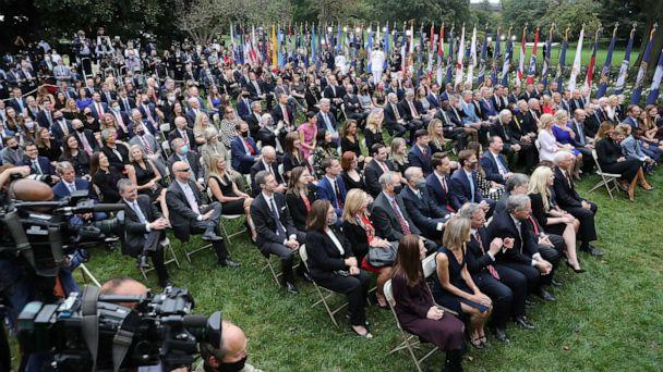 PHOTO: Guests watch as President Donald Trump introduces 7th U.S. Circuit Court Judge Amy Coney Barrett as his nominee to the Supreme Court in the Rose Garden at the White House Sept. 26, 2020 in Washington, D.C. (Chip Somodevilla/Getty Images)