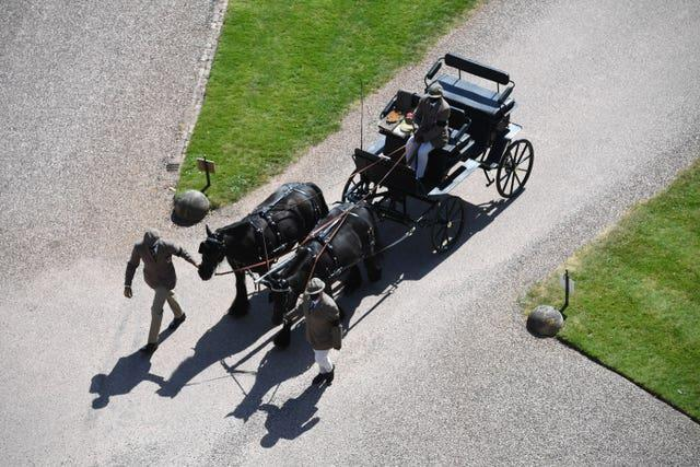 Fell ponies, Balmoral Nevis and Notlaw Storm pulling the Duke of Edinburgh's driving carriage
