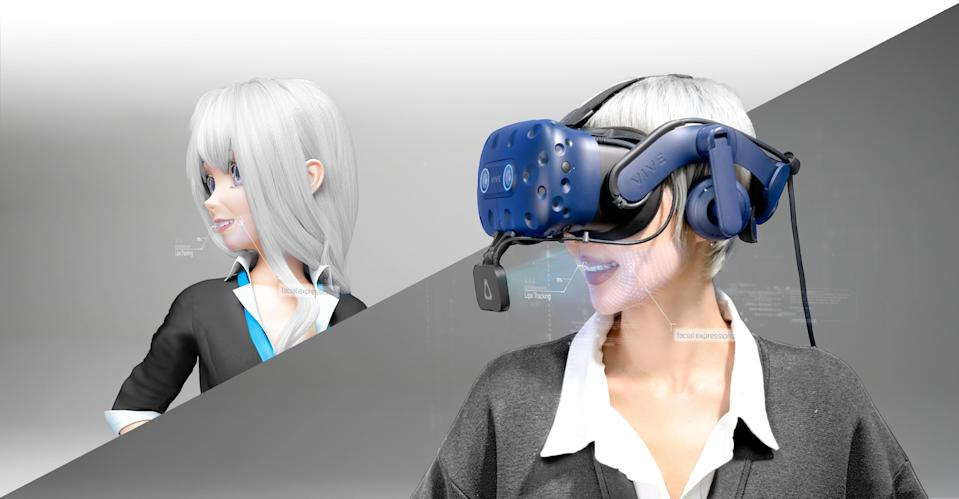 Concept image of HTC's Vive Facial Tracker as shown on a rendered individual.