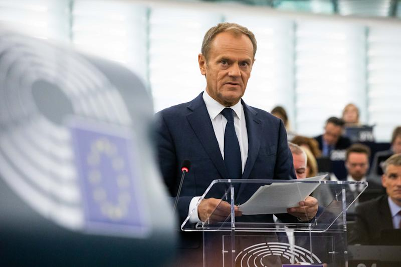 22 October 2019, France (France), Straßburg: Donald Tusk, President of the European Council, addresses the European Parliament during the debate on the outcome of the meeting of EU Heads of State and Government. Photo: Philipp von Ditfurth/dpa (Photo by Philipp von Ditfurth/picture alliance via Getty Images)