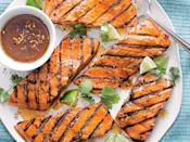 """<p>From the Kitchen of Amy Clarke, Fairfax, VA, the-savvy-kitchen.com</p> <p>""""Perfect for family or company, this recipe is rich in flavor but light enough to keep your waistline in check.""""</p> <p><a href=""""https://www.myrecipes.com/recipe/firecracker-grilled-salmon"""" rel=""""nofollow noopener"""" target=""""_blank"""" data-ylk=""""slk:Firecracker Grilled Salmon Recipe"""" class=""""link rapid-noclick-resp"""">Firecracker Grilled Salmon Recipe</a></p>"""