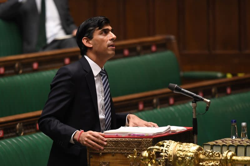 Britain's Chancellor of the Exchequer Rishi Sunak speaks at the House of Commons in London