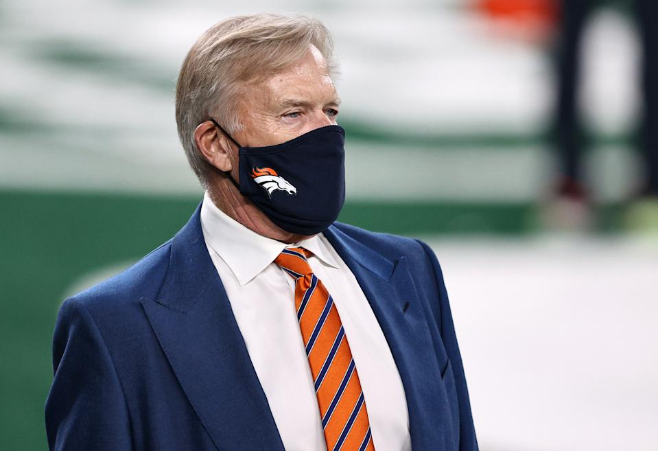 EAST RUTHERFORD, NEW JERSEY - OCTOBER 01:  Denver Broncos President of Football Operations/General Manager John Elway looks on during warm ups against the New York Jets at MetLife Stadium on October 01, 2020 in East Rutherford, New Jersey. (Photo by Elsa/Getty Images)